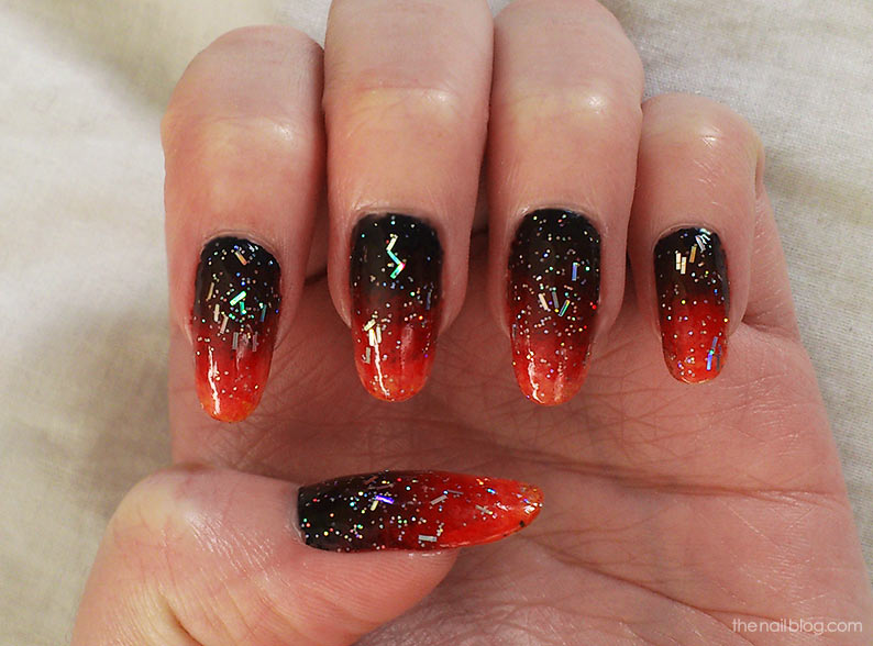 Fantastic Red And Black Nails With Red Tip