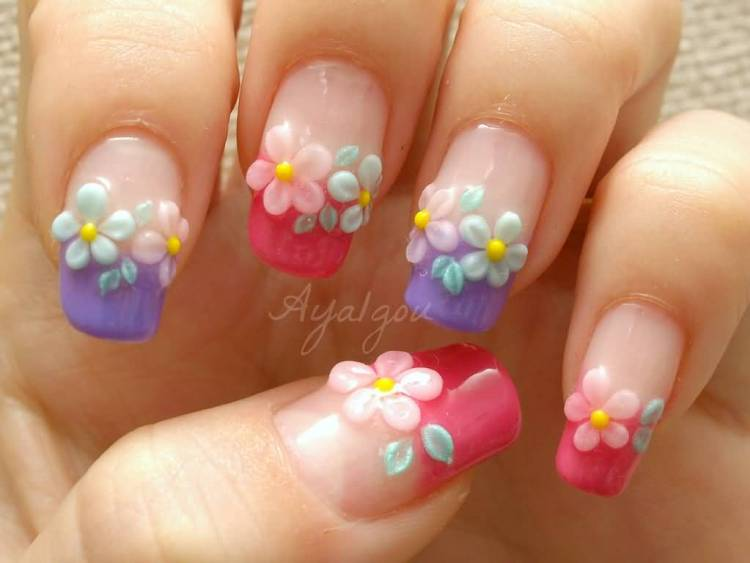 Fantastic Shining Ink With Pink And Blue Color Flower 3D Rose Flower Nail Art