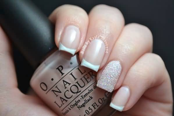 Fantastic Silver With Natural Color Nail Paint Glitter Accent Nail Art