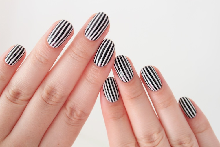 Fantastic White And Black Nail Art With Stripes