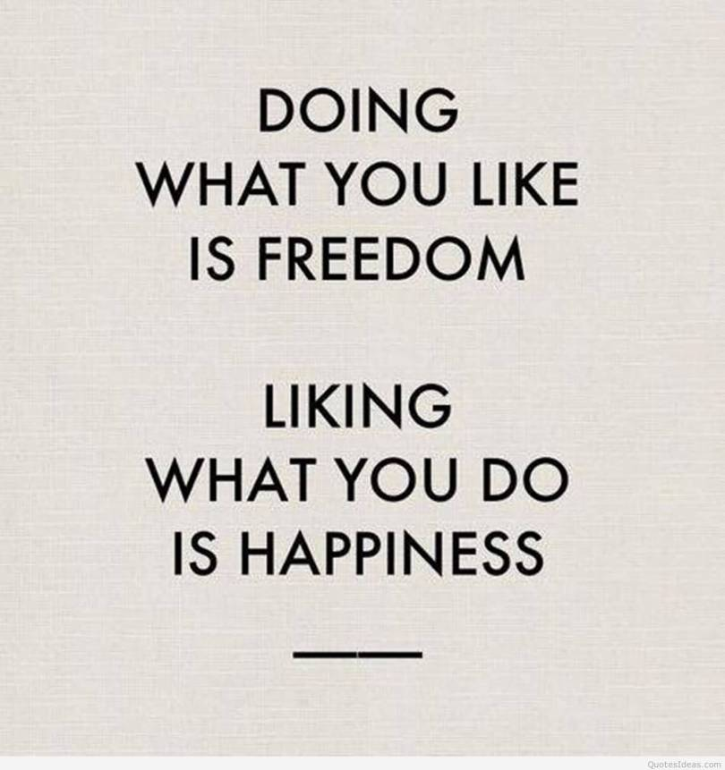 Freedom sayings doing what you like is freedom liking what you do is happiness