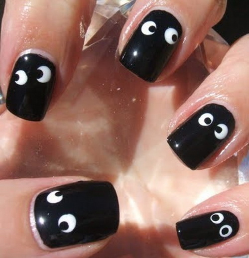 Funny Black Nail Art Design With Eyes