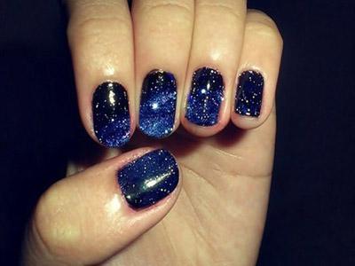 Glittery Nail Paint Blue Nail