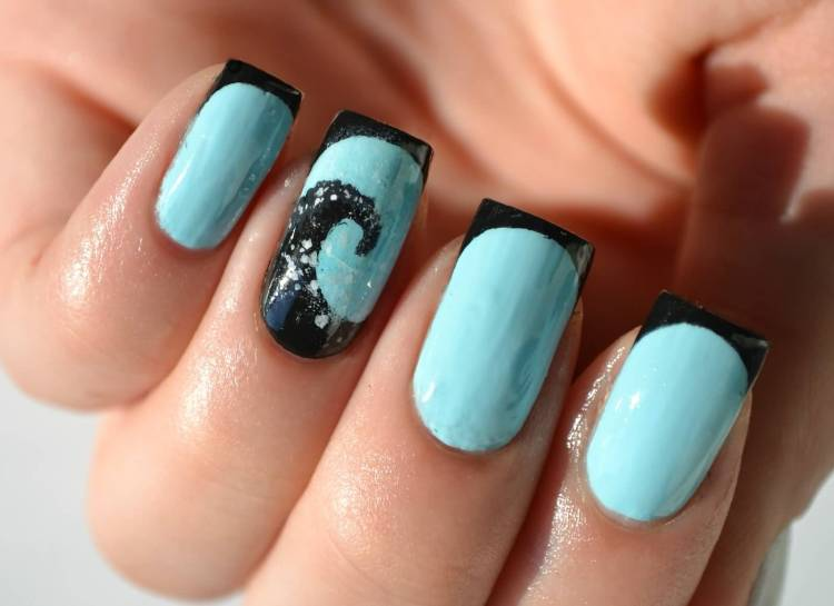 Glossy Blue Nail With Sea Design