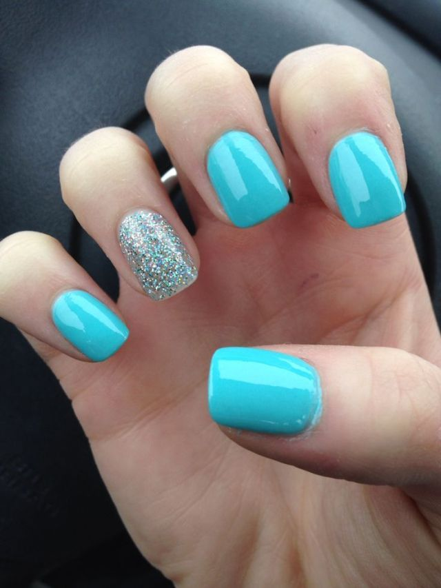 Glossy Light Blue Nails With Accent Glitter Nail Art