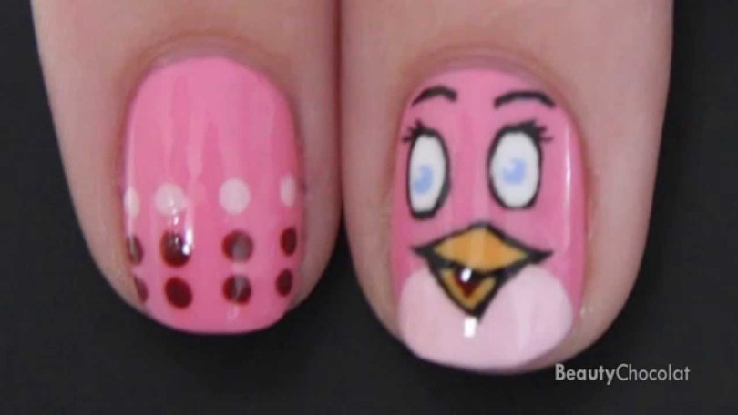 Glossy Pink Angry Bird Nail Art Design