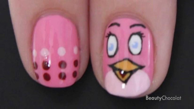 Glossy Pink Angry Bird Nail Art Design