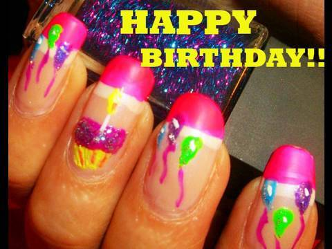 Glossy Pink Color Tips With colorful balloons Birthday Nail Art