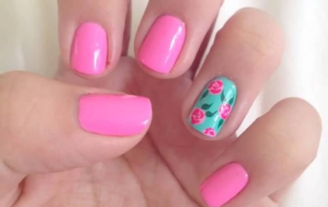 Glossy Pink Nail Paint With Pink flower Accent Nail Art