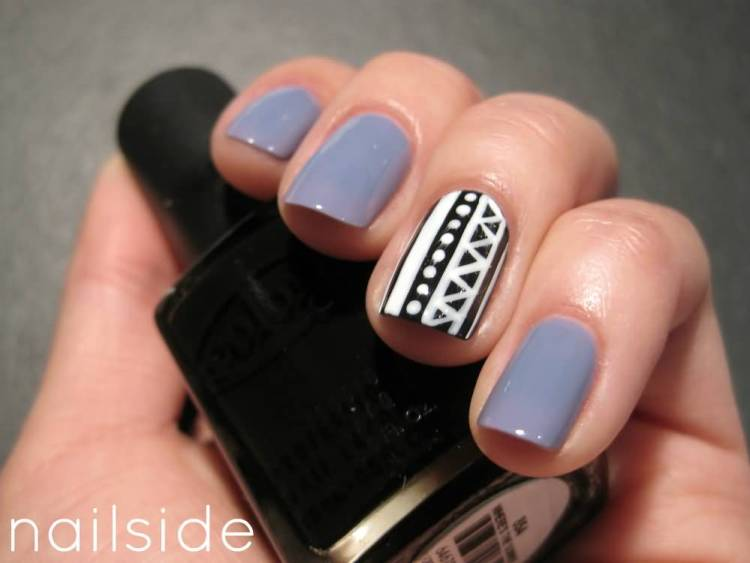 Glossy Silver And Black And White Stripes Accent Nail Design