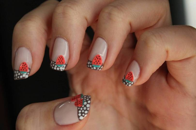 Glossy White Dotted Tip With Strawberry 3D Nail Art