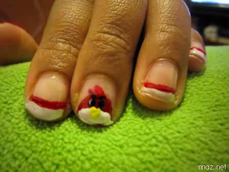 Glossy White color And Red Angry Bird Nail Art Design