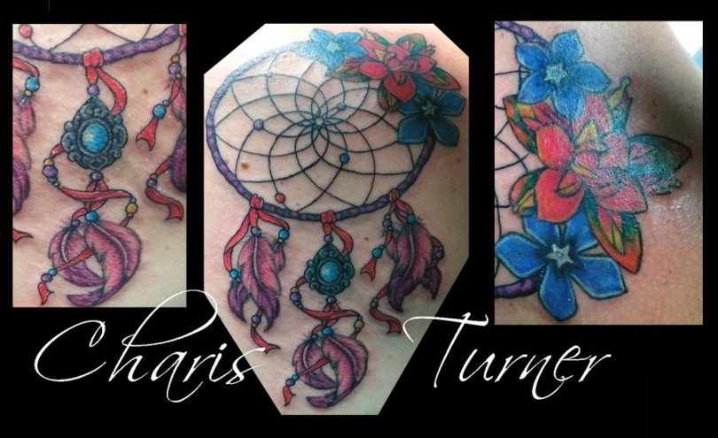 Glowing Dream Catcher Tattoo Pictures For Girls