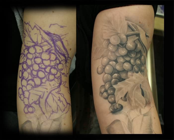 Glowing Grapes Tattoo Images For Girls