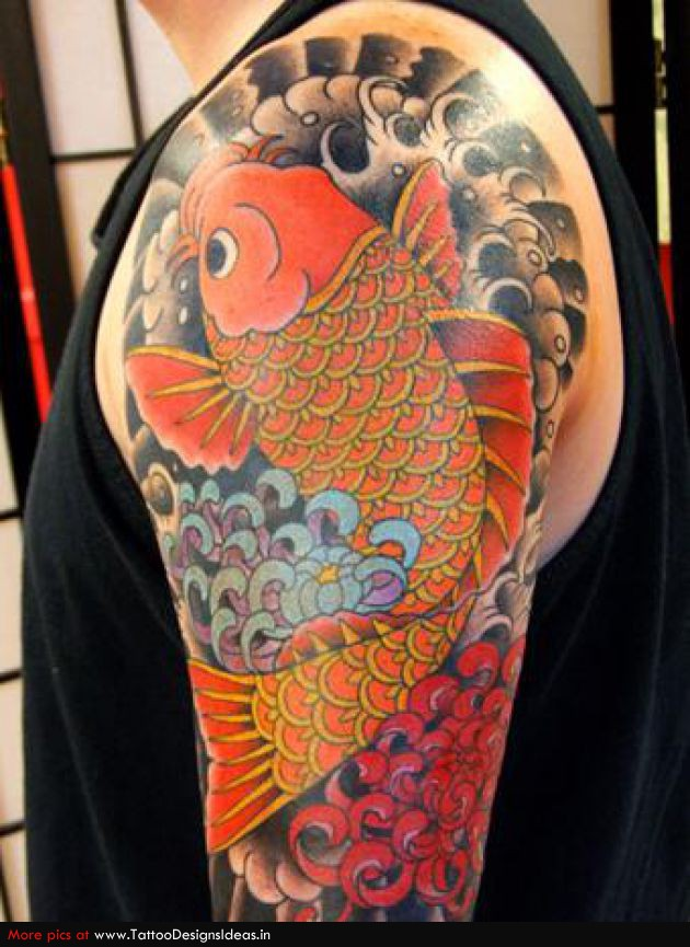 Glowing Japanese Koi Fish Tattoo On Shoulder For Boys