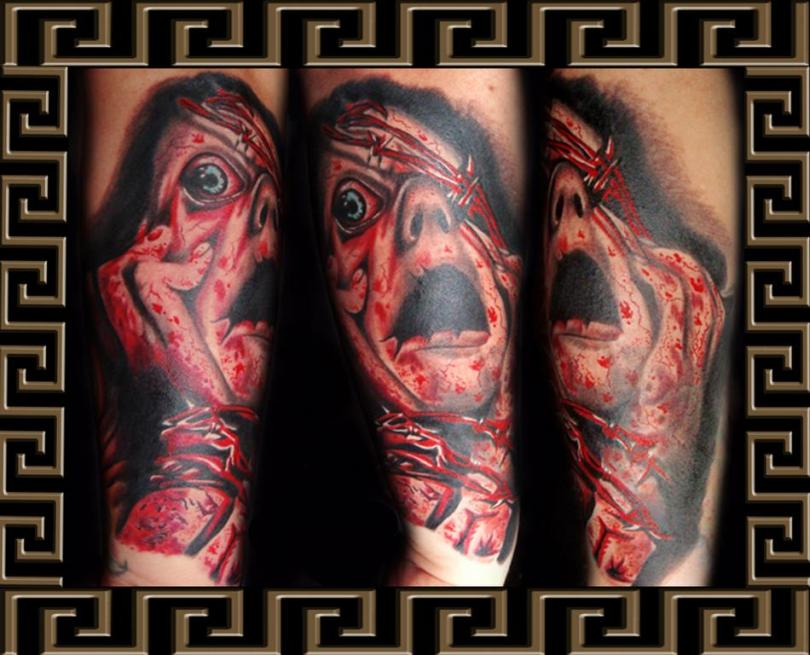 Glowing Screaming Face Horror Tattoo Design For Boys