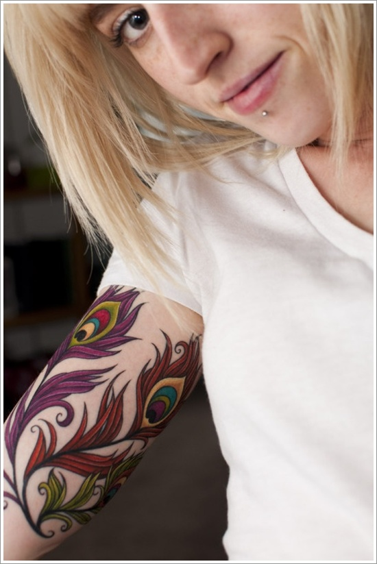 Glowing Sexy Feather Tattoo Designs For Girls On Sleeve For Women