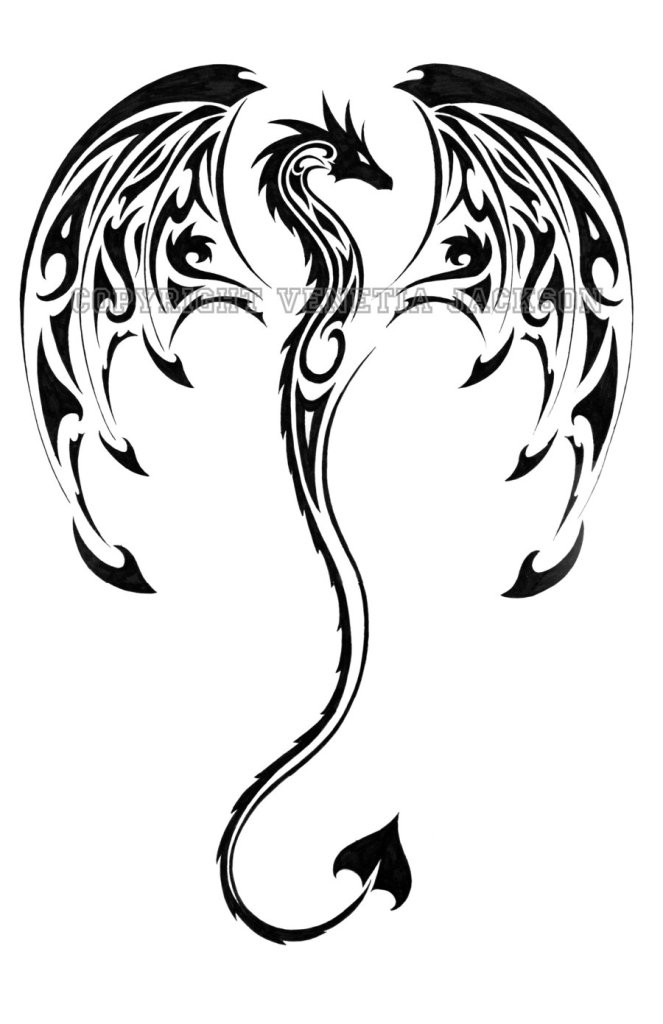 Glowing Tribal Dragon Tattoo Design For Girls
