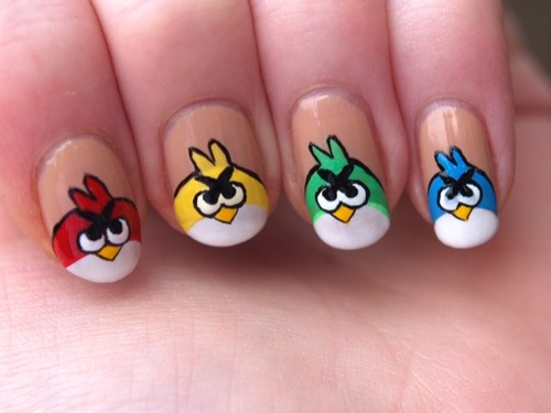 Great Angry Birds With Brown Color Angry Bird Nail Art Design