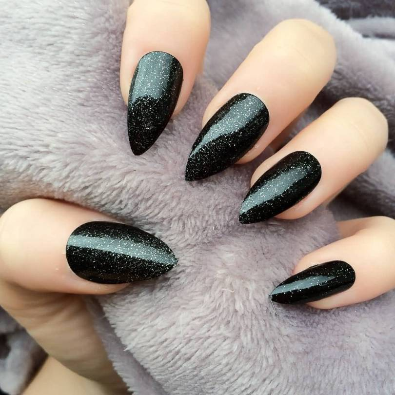 Great Black And Beige Nail Art With Sharp Nail Design