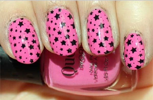 Great Black And Pink Nails With Star Design