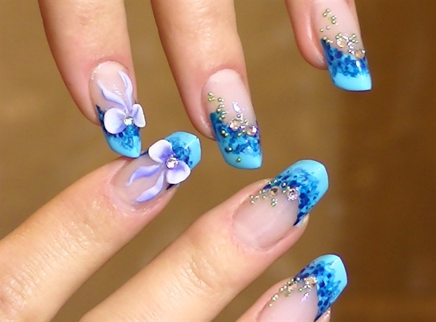 Great Blue Color Tips With ribbon 3D Nail Art