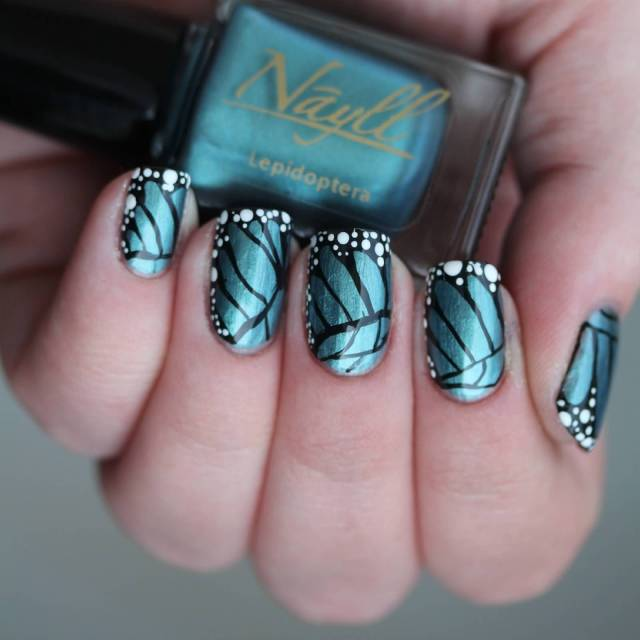 Great Butterfly Nail With Dotted Design