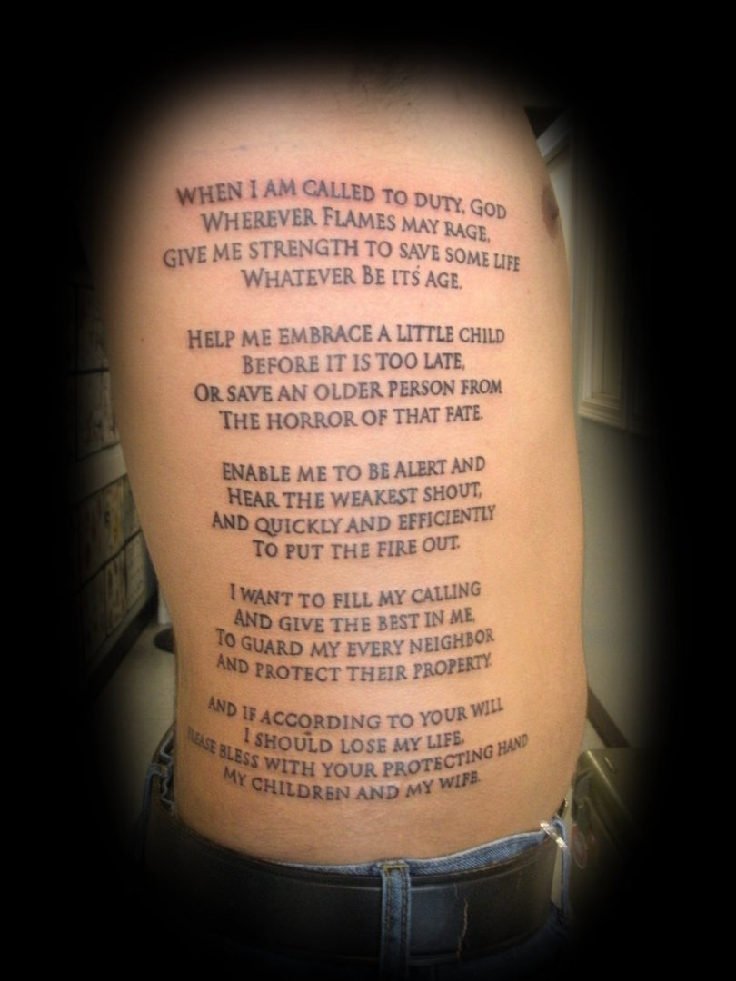 Great Firemans Prayer Tattoo On Rib For Boys