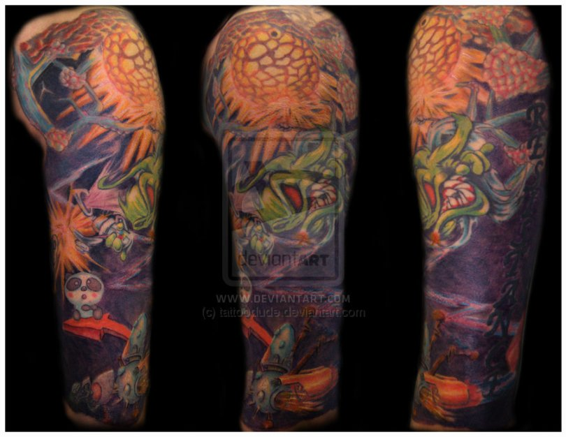 Great Graffiti Sleeve Tattoo Design For Boys