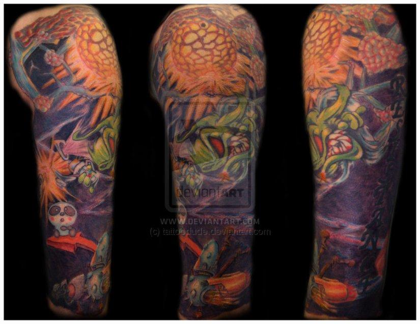 Great Graffiti Sleeve Tattoo Design For Boys
