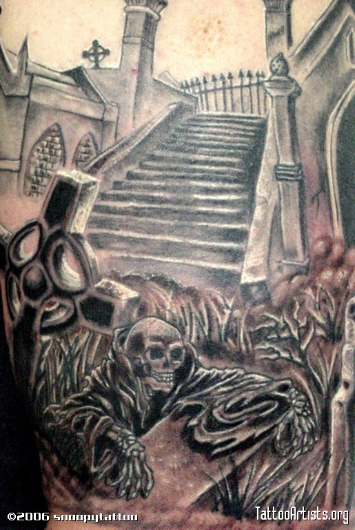 Great Graveyard Cemetery Tattoo For Boys
