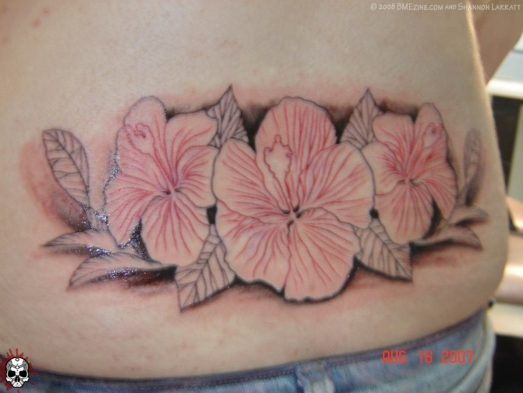 Great Hibiscus Tattoo On Lower Waist For Girls