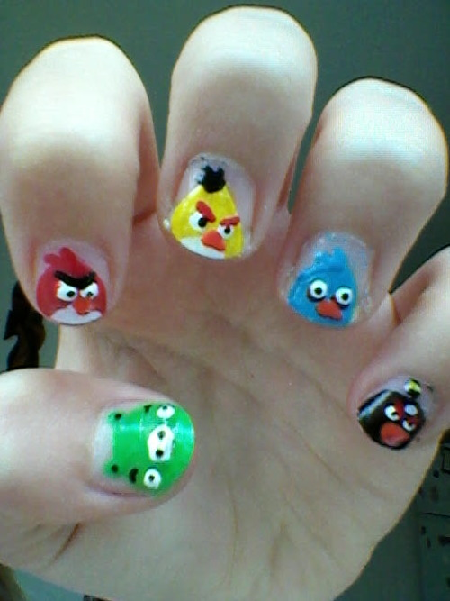 Great Nail Paint Angry Bird Nail Art Design