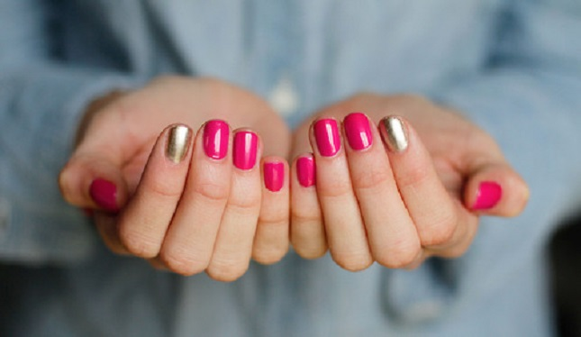 Great Red And Golden Accent Nail Design