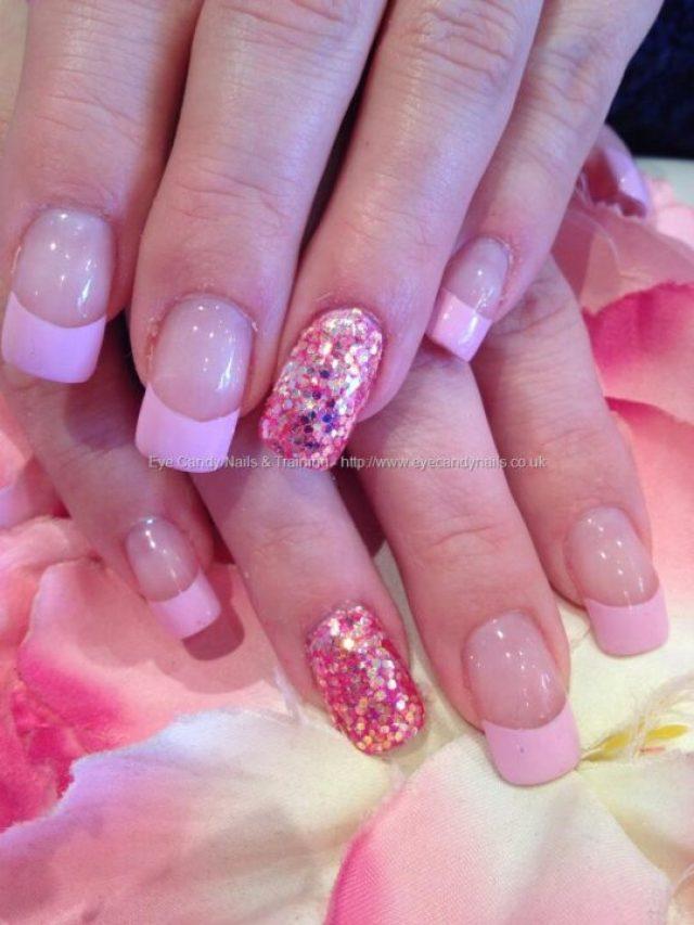 Great Sparkling Pink Nail Pink Acrylic Nail Design