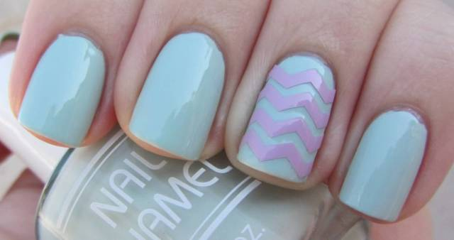 Great Stripes With Sky Blue Color Accent Nail Design