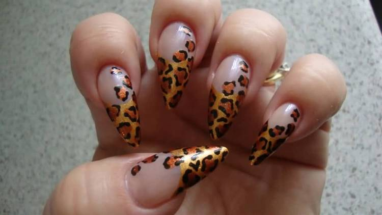 Great Tiger Print Tips With Almond Shaped Acrylic Nail Art