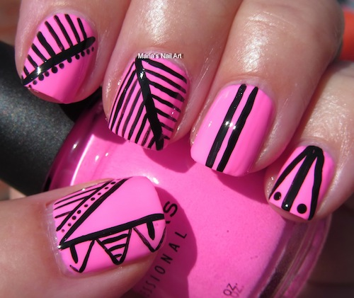 Greatest Black And Pink Nails With Leave Design And Triangle