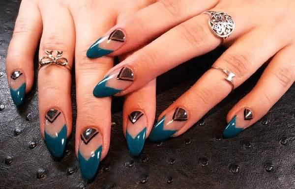 Greatest Design Ever With Blue Color Paint Almond Shaped Acrylic Nail Art