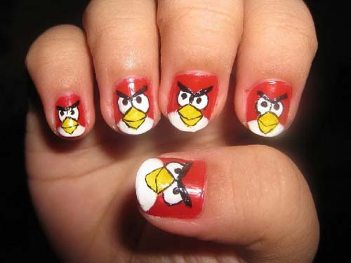 Greatest Red Color Birds Angry Bird Nail Art Design