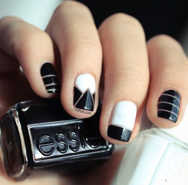 Greatest Triangle Design Of Black And White Nail Art