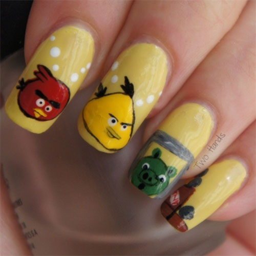 Greatest Yellow Color Design With Angry Bird Nail Art Design