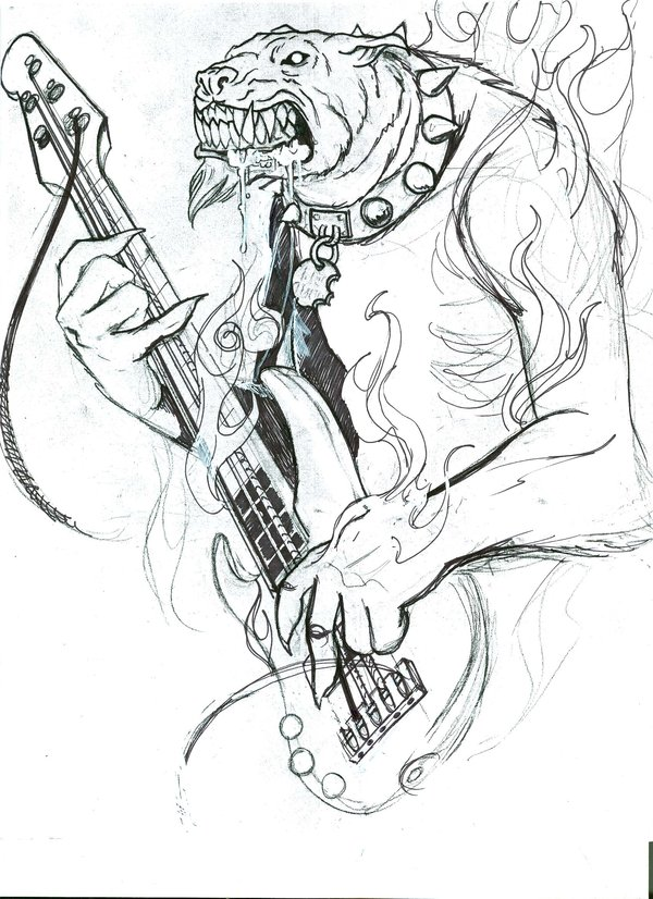 Groovy Hell Dog With Guitar Tattoo Sample For Girls