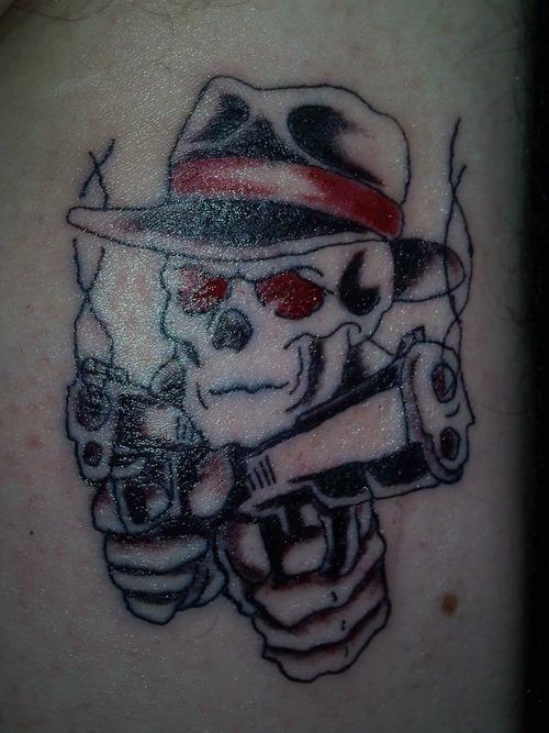 Groovy Stylish Gangsta Skull Tattoo Design For Boys
