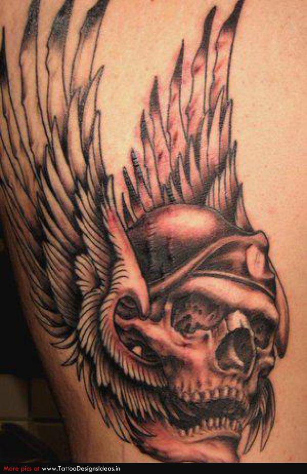 Groovy Winged Grim Reaper Skull Tattoo Design For Boys