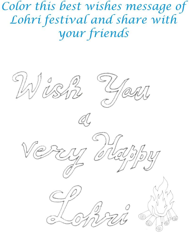 Happy Lohri Color This Best Wishes Message Printable Card Image