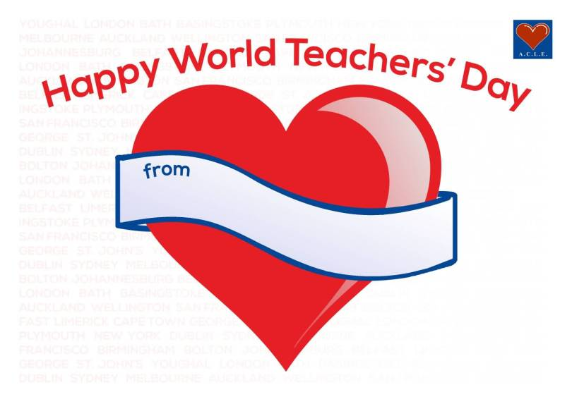 Happy World Teacher's Day Greetings Heart Message Image
