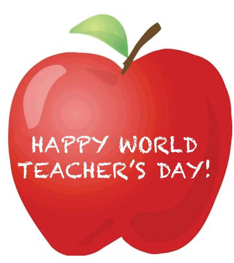 Happy World Teacher's Day Wishes Apple Greetings Image
