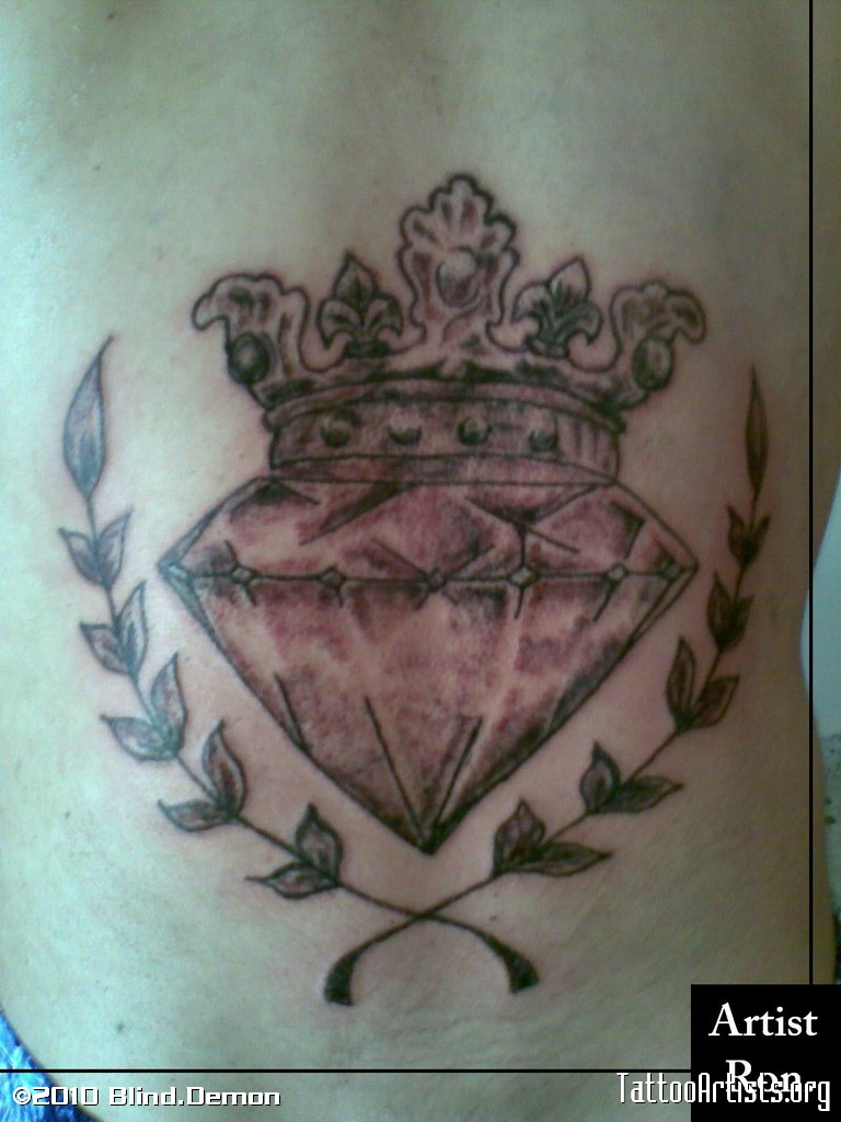 Horrible Diamond n Crown Tattoo Design For Girls