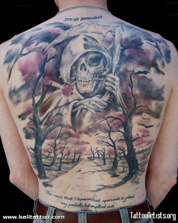 Horrible Grim Reaper n Tree Tattoo Design On Back For Boys
